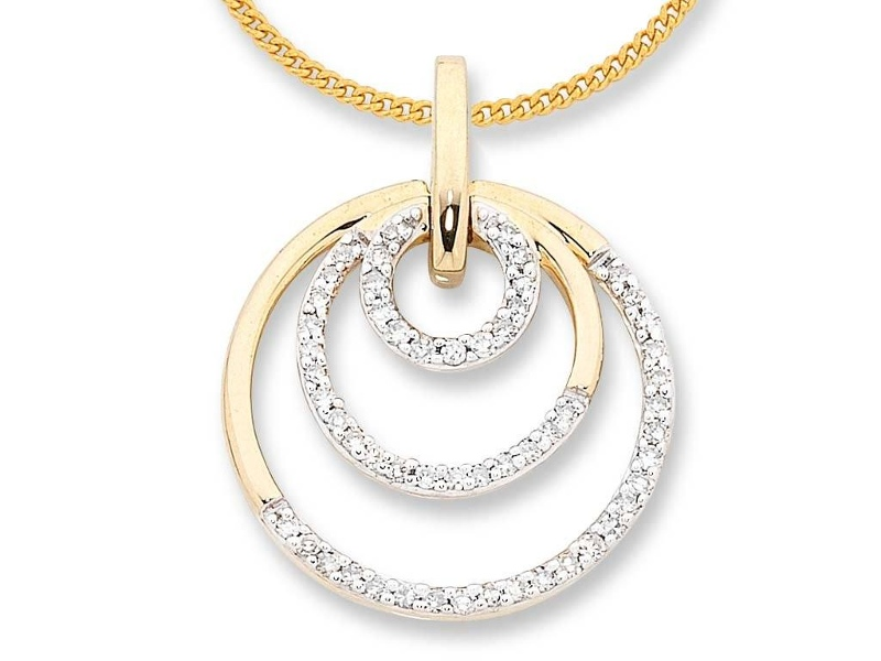 9ct Yellow Gold Diamond Set 3 Circle Necklace