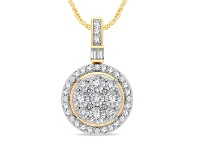 Bevilles Halo Necklace with 1/5ct of Diamonds in 9ct Yellow Gold