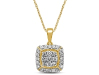 Bevilles Brilliant Halo Square Look Necklace with 1.00ct of Diamonds in 9ct Yellow Gold