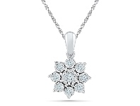 Bevilles 9ct White Gold 0.10ct Diamond Star Necklace