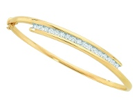 Bevilles 9ct Yellow Gold 1.00ct Diamond Bangle