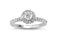 Bevilles Love by Michelle Beville Halo Solitaire Ring with 0.65ct of Diamonds in 18ct White Gold