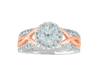 Bevilles Love by Michelle Beville Halo Solitaire Ring with 1.05ct of Diamonds in 18ct Rose & White Gold