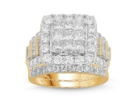 Bevilles Meera Invisible Princess Ring with 3.00ct of Laboratory Grown Diamonds in 9ct Yellow Gold - L