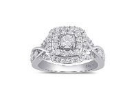Bevilles Meera Double Halo Square Ring with 1.00ct of Laboratory Grown Diamonds in 9ct White Gold