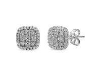 Bevilles Halo Stud Earrings with 1.00ct of Laboratory Grown Diamonds in 9ct White Gold