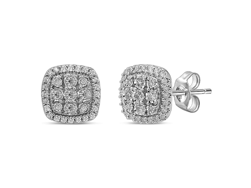 Halo Stud Earrings with 1.00ct of Laboratory Grown Diamonds in 9ct White Gold