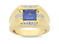 Bevilles Honeydium 0.90ct Diamond and Created Sapphire Gents Ring