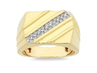 Bevilles Honeydium 0.23ct Diamond Diagonal Gents Ring