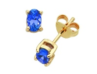 Bevilles 9ct Yellow Gold Tanzanite Stud Earrings