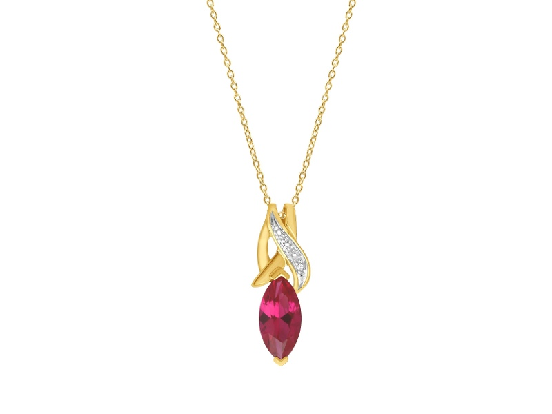 9ct Yellow Gold Created Ruby Diamond Necklace