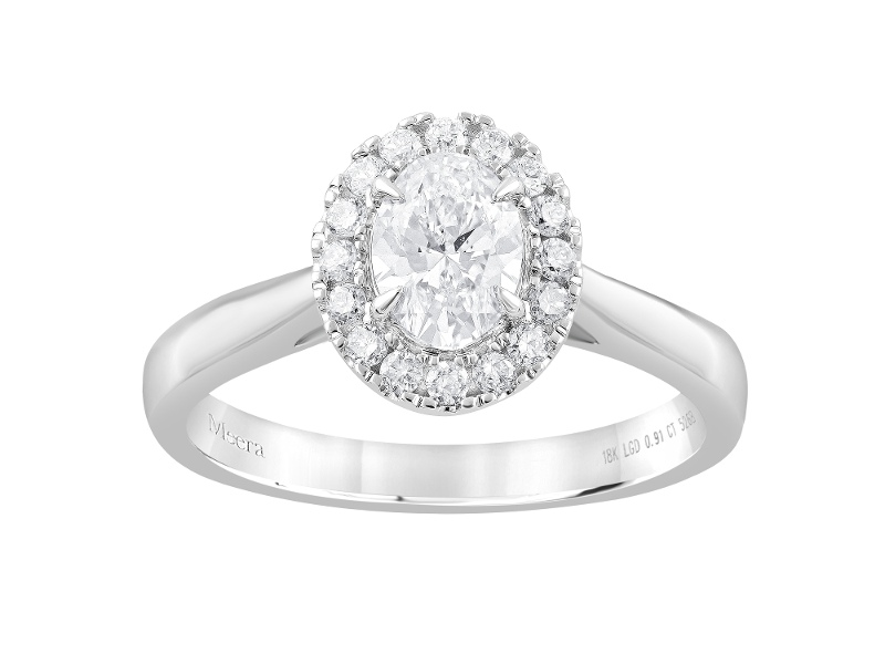 Meera Halo Ring with 0.90ct of Laboratory Grown Diamonds in 18ct White Gold