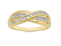 Bevilles Diamond Set Gold Plated Ring