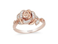Bevilles Enchanted Disney Fine Jewelry 9ct Rose Gold Belle Rose Ring with 1/10ct Diamonds TDW - N