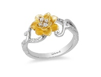 Bevilles Enchanted Disney Fine Jewelry 9ct Yellow Gold and Sterling Silver Tiana Water Lily Ring with 1/10ct Diamonds TDW - L