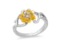 Bevilles Enchanted Disney Fine Jewelry 9ct Yellow Gold and Sterling Silver Tiana Water Lily Ring with 1/10ct Diamonds TDW - N
