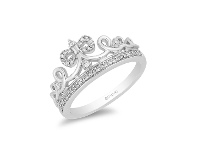 Bevilles Enchanted Disney Fine Jewelry Sterling Silver Snow White Tiara Ring with 1/6ct Diamonds TDW