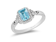 Bevilles Enchanted Disney Fine Jewelry Sterling Silver Frozen 2 Elsa Ring with Sky Blue Topaz and 1/10ct Diamonds TDW - L