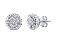 Bevilles 9ct White Gold Halo Stud Earrings with 0.33ct of Diamonds