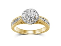 Bevilles Martina Brilliant Halo Ring with 1/3ct of Diamonds in 9ct Yellow Gold