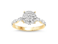 Bevilles Martina Brilliant Solitaire Look Ring with 1/2ct of Diamonds in 9ct Yellow Gold