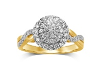 Bevilles Martina Halo Shoulder Wave Ring with 3/4ct of Diamonds in 9ct Yellow Gold