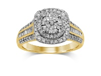 Bevilles Martina Brilliant Claw Solitaire Look Ring with 3/4 of Diamonds in 9ct Yellow Gold