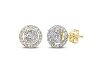 Bevilles Martina Halo Solitaire Look Earrings with 1/3ct of Diamonds in 9ct Yellow Gold