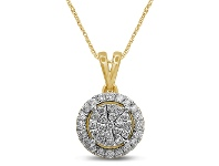 Bevilles Martina Raised Solitaire Look Necklace with 1/2ct of Diamonds in 9ct Yellow Gold