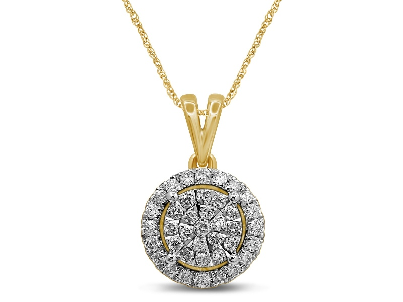 Martina Raised Solitaire Look Necklace with 1/2ct of Diamonds in 9ct Yellow Gold