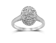 Bevilles Martina Brilliant Solitaire Look Ring with 0.20ct of Diamonds in 9ct White Gold