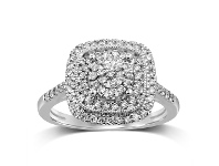 Bevilles Martina Brilliant Illusion Solitaire Look Ring with 1/2ct of Diamonds in 9ct White Gold - Q