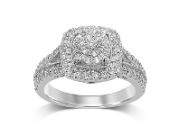 Bevilles Martina Brilliant Halo Cluster Ring with 3/4ct of Diamonds in 9ct White Gold - Q