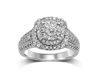 Bevilles Martina Brilliant Claw Solitaire Look Ring with 3/4 of Diamonds in 9ct White Gold
