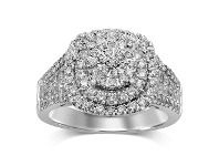 Bevilles Martina Brilliant Claw Solitaire Look Ring with Double Halo with 1.00ct of Diamonds in 9ct White Gold