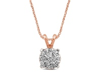 Bevilles Martina Necklace with 0.10ct of Diamonds in 9ct Rose Gold