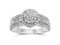 Bevilles Martina Halo Ring with 3/4ct of Diamonds in 9ct White Gold - L