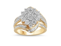 Bevilles Flower Halo Ring with 1.00ct of Diamonds in 9ct Yellow Gold