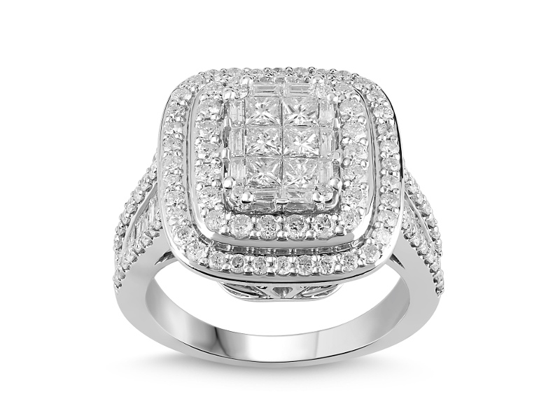 Invisible Princess Ring with 2.00ct of Diamonds in 9ct White Gold