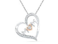 Bevilles Sterling Silver & 9ct Rose Gold Diamond 'Mum' Necklace