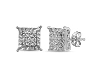 Bevilles Brilliant Miracle Stud Earrings with 0.10ct of Diamonds in Sterling Silver