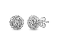 Bevilles Brilliant Miracle Double Halo Earrings with 1/5ct of Diamonds in Sterling Silver