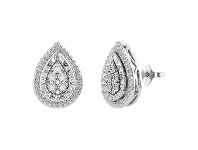 Bevilles Diamond Set Miracle Halo Pear Earrings in Sterling Silver