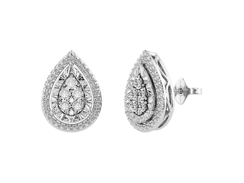 Diamond Set Miracle Halo Pear Earrings in Sterling Silver