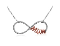 Bevilles Sterling Silver Diamond Infinity Mum Necklace