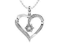 Bevilles Diamond Set Heart Necklace in Sterling Silver