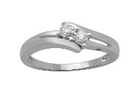 Bevilles Sterling Silver 0.10ct Diamond Ring