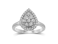 Bevilles Sterling Silver 0.25ct Diamond Pear Ring - L