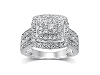 Bevilles Brilliant Square Look Ring with 1.00ct of Diamonds in Sterling Silver - L