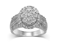 Bevilles Brilliant Illusion Halo Ring with 1.00ct of Diamonds in Sterling Silver - L
